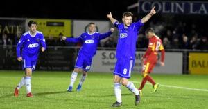 Cove's Mitch Megginson celebrates scoring. Picture by Chris Sumner