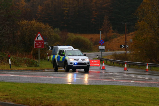 Police at the A82 near Tyndrum. Picture by Kevin McGlynn