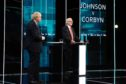 Prime Minister Boris Johnson and Leader of the Labour Party Jeremy Corbyn answer questions during the ITV Leaders Debate at Media Centre on November 19, 2019