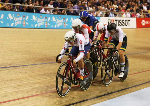 Neah Evans of Great Britain competes in the Women's Omnium during Day Two of The UCI Track Cycling World Cup at Sir Chris Hoy Velodrome.