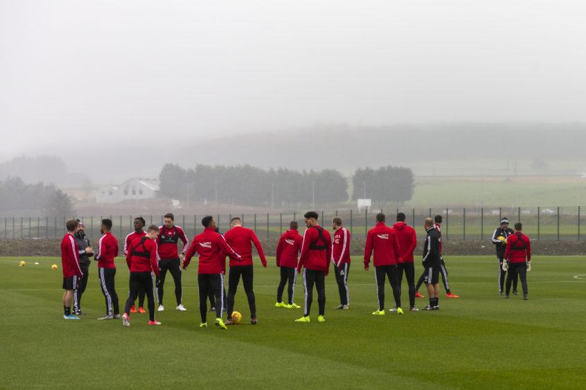 Aberdeen go through a drill.