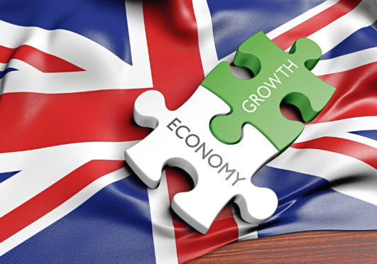3D rendered concept of the state of the economic and finance markets in the United Kingdom.  United Kingdom economy and financial market growth concept. Stock image - keywords growth
