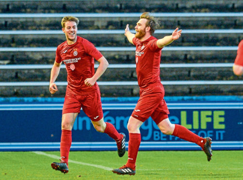 Dale Gillespie celebrates his goal against Morton.
