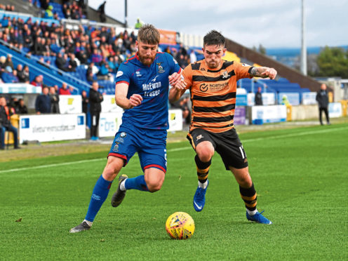 Shaun Rooney in action against Alloa.