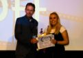 Katie Low accepting the Golden Raptor Award at the Scottish Short Film Festival