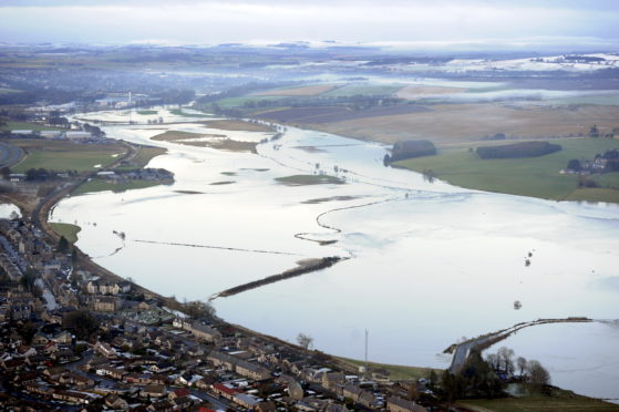 Pictured is the flooding of the River Don near Kintore/Port Elphinston/Inverurie. Picture by DARRELL BENNS