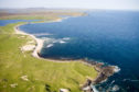 Aerial view of Ghoile Chroic beach and coastline on the west coast of Lewis