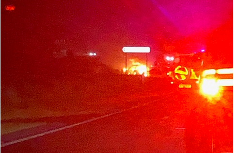 The car alight on the A90 last night.