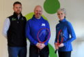 From left, chief operating officer at Garioch Sports Centre Kevin Bonarius, Judy Murray Foundation project manager Kris Soutar and Judy Murray.  Picture by Kath Flannery