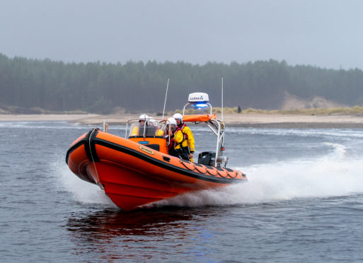MIRO ( Moray Inshore Rescue ) launching their new lifeboat