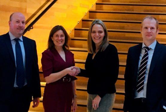Ian Stewart, Paula Cormack, Karen Williamson and Stuart Taylor at Maggie's Centre as Apache donates £30,000.