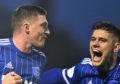 PETERHEAD'S GARY FRASER CELEBRATES HIS GOAL WITH JACK LEITCH