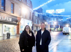 Adrian Whalley and Sharon Bradford, of Peterhead For Change, on Marischal Street, Peterhead Picture by Chris Sumner