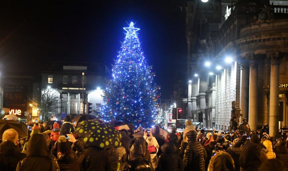 Aberdeen's Winter Festival Christmas Tree Switch-On in Castlegate.  Picture by Chris Sumner