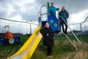 Buckie Councillors Gordon Cowie, Sonya Warren and Tim Eagle pictured at the Ian Johnston Park in Buckie. Picture by Jason Hedges.