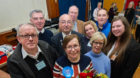 Winning Conservative candidate Laura Powell flanked by supporters. Picture by Jason Hedges.