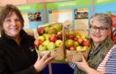 Moray Council hosted an event in Forres Town Hall with charity Reap to showcase opportunities to grow your own food in the area.  Pictured: Dorothy Allan, outreach worker with REAP, and Emma Gordon, planning officer with Moray Council.