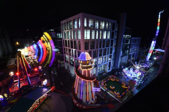 A view of the Christmas Village on Broad Street and Upperkirkgate, Aberdeen.  Picture by Kenny Elrick