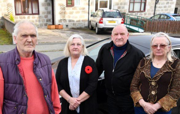 JIM GORDON (L) WITH FELLOW  TURFHILL COURT RESIDENTS (L TO R) HELEN STEWART, JOHN MASSIE AND DEBBIE HINKS