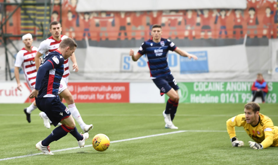 Ross County's Billy McKay scores the opening goal during the Ladbrokes Premiership match between Hamilton and Ross County