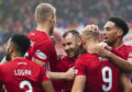 Curtis Main celebrates with his teammates after making it 1-0 to Aberdeen during the Ladbrokes Premiership match between Aberdeen and Kilmarnock, at Pittodrie