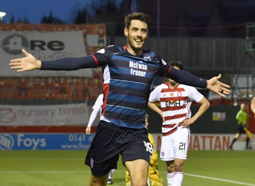 Brian Graham celebrates his late equaliser during the Ladbrokes Premiership match between Hamilton and Ross County.