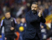 Aberdeen manager Derek McInnes is pictured celebrating after the Ladbrokes Premiership match between Aberdeen and Kilmarnock