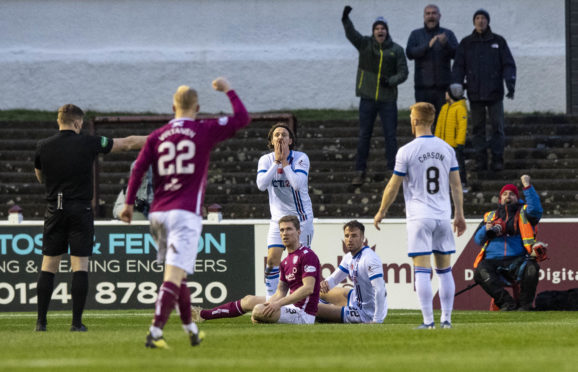 John Beaton awards a penalty to Arbroath during the Ladbrokes Championship match between Arbroath and Inverness CT.