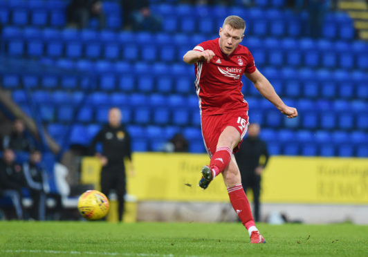 Sam Cosgrove strikes to make it 1-0 to Aberdeen during the Ladbrokes Premiership match between St Johnstone and Aberdeen at McDiarmid Park.