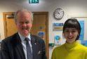 Stewart Stevenson MSP with Rachel Ashenden, Communications Officer at the Scottish Youth Parliament