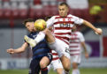 Scott Martin (right) competes with Ross County's Lewis Spence during the Ladbrokes Premiership match at New Douglas Park