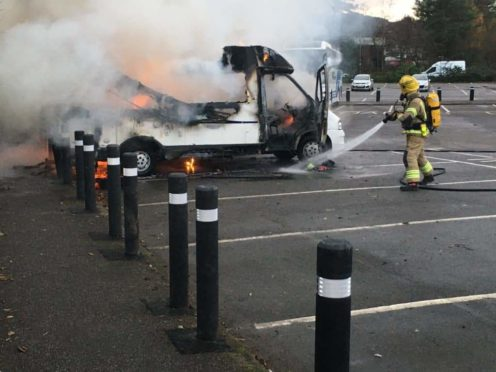 Firefighters tackled a motorhome that burst into flames in Oban.