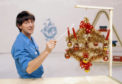 John Noakes with a Christmas decoration on the Blue Peter children's TV programme - BBC picture