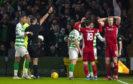 Aberdeen's Sam Cosgrove is sent off.