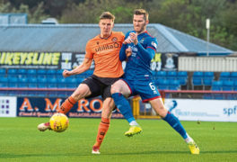 Dundee Utd's Paul Watson (L) and Inverness' Jamie McCart in action during the Ladbrokes Championship match between Inverness CT and Dundee United at the Caledonian Stadium, on November 2.