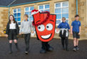 6 December 2019. Bishopmill Primary School, Morriston Road, Elgin, Moray, Scotland, IV30 4DY. This is Pupils from Bishopmill Primary School promoting walking to School. Picture Content - L-R - Katie Dunlin, Dario Green, Nicole Whyte and Thomas Burgess