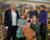 L-R Back - Christine Christie.  Samantha Williams Parent at Milnes, Cllr Marc Macrae and Parent Melissa McGregor along with children - L-R - Abigail and sister Isla McGregor with Nathan Williams.