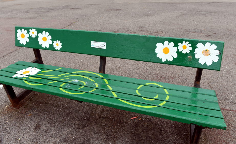 Some of the benches located near Aberdeen Beach.