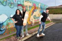 Pictured are from left Broch Skate Club Chairwoman Anneka Niro, Jonny Kennedy of Brewdog and club committee member Nathan Morrison   Picture by DARRELL BENNS     Pictured on 04/12/2019
