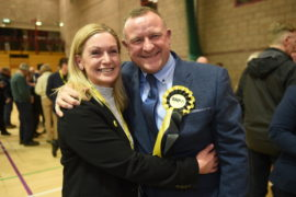 SNP's Drew Hendry celebrates being re-elected for the Nairn, Badenoch and Strathspey seat at Inverness Sports Centre. Picture by Sandy McCook