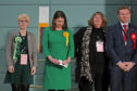 Lib Dem leader Jo Swinson (second left) listens as she loses her East Dumbartonshire constituency in the 2019 General Election, during the count at the Leisuredome, Bishopbriggs.