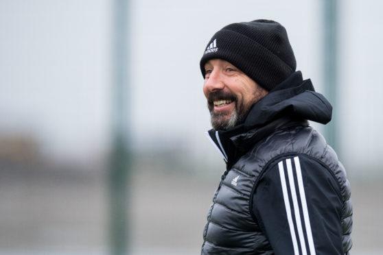 Derek McInnes during Aberdeen training at Cormack Park.