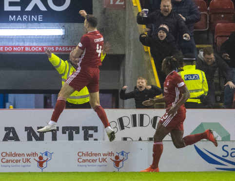 Andy Considine celebrates his equaliser.