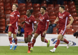 Aberdeen's Jon Gallagher (left) celebrates his goal with Greg Leigh, Zak Vyner and Andy Considine.
