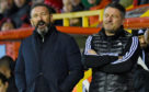 Aberdeen manager Derek McInnes (L) and assistant manager Tony Docherty.
