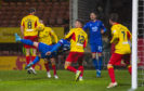James Keatings scores an acrobatic goal to make it 1-1 at Firhill