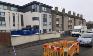 Police cordon at the Oakhill apartments on Ruthrieston Crescent, Aberdeen.