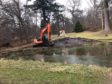 Work to clear out the wildlife pond at Haughton Park, Alford.