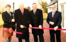 CR Pipe major A MacColl, John Finnie MSP, Councillor Roddy McCuish, Jim Milne at the Connel opening