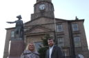 Councillors Dianne Beagrie and Stephen Smith outside Peterhead Town House